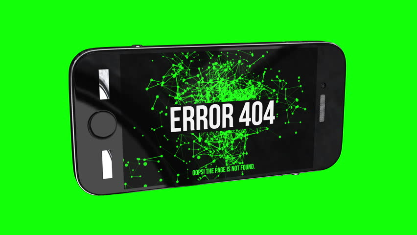 Smartphone with Page Not Found Error 404. Abstract Network Moving Background. Green Dots Connected by Lines on black background. Number 404 available in 4K and HD video animation footage.
