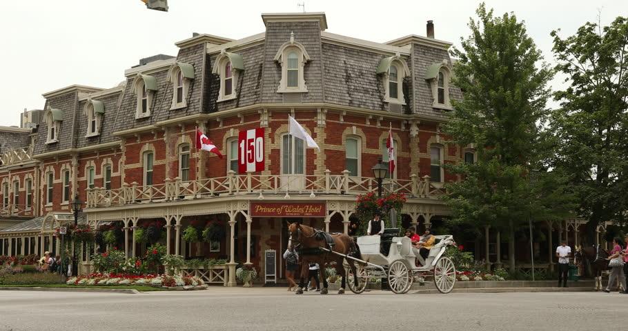 Niagara Falls, Canada - July 25, 2017:  The historic Victorian Prince of Wales Hotel in Niagara on the Lake Ontario Canada