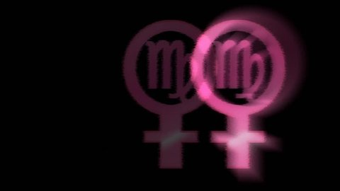 Animation of colored female symbol and zodiac virgo sign with the effect of  glow and beating