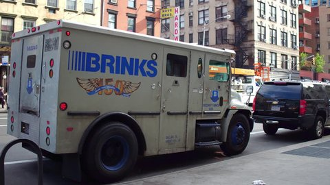 NEW YORK CITY, NEW YORK - OCTOBER 7: Brinks security truck in downtown Manhattan in New York City, New York on October 7, 2017 on October 7, 2017.