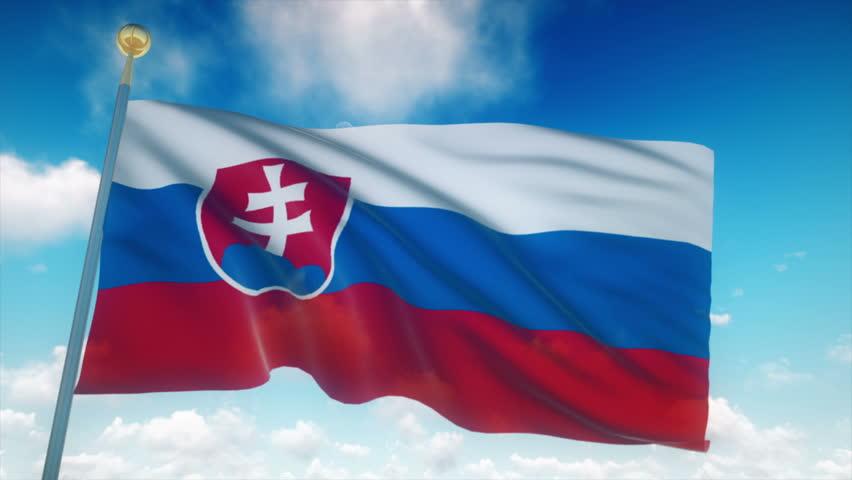 Slovakia Flag Waving 3D Rendering Blue Sky Background - Seamless Loop 4K