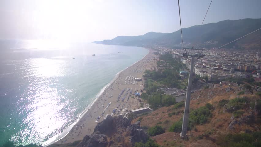 The beach of Cleopatra is visible from the window of the funicular