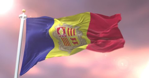 Andorra flag waving at wind in slow at sunset, loop