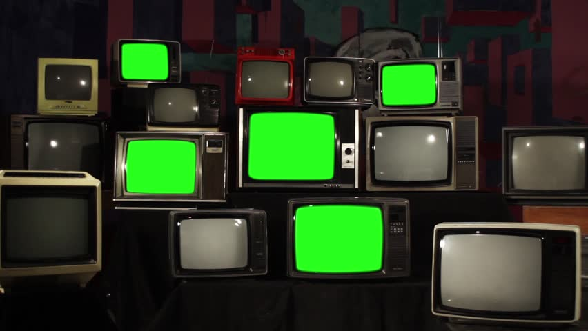"80s TVs Turn On Green Screen. Zoom In. You can Replace Green Screen with the Footage or Picture you Want with ""Keying"" effect in After Effects (check out tutorials on YouTube).  