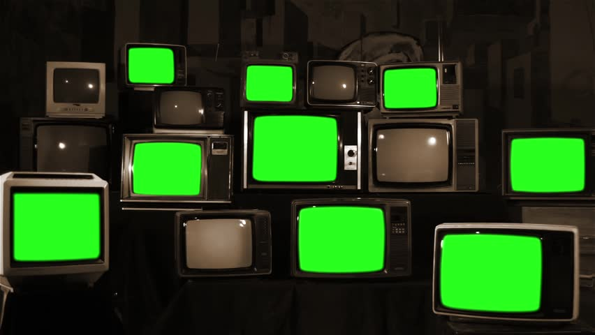 Stack of Retro TVs Turning Off Green Screen. Sepia Tone. Zoom In.   | Shutterstock HD Video #1012062353