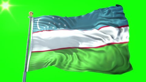 Uzbekistan flag seamless looping 3D rendering video. 3in1:Includes isolated on green screen and alpha channel as luma matte for easy clipping in AE. Beautiful textile cloth fabric loop waving