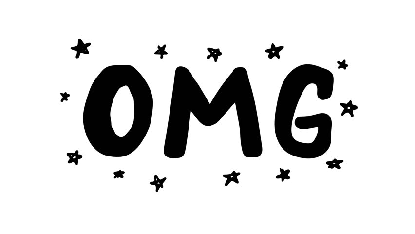 Animation of hand drawn omg phrase with stars
