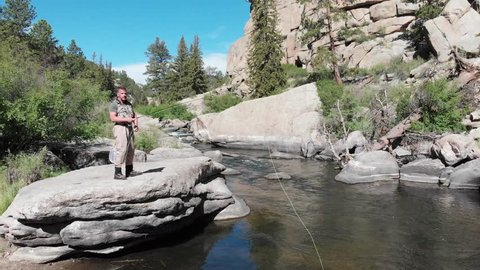 Man Fly Fishing in South Platte River Colorado