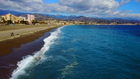 Aerial photograph of the sea wall at City Beach, Spain , Malaga