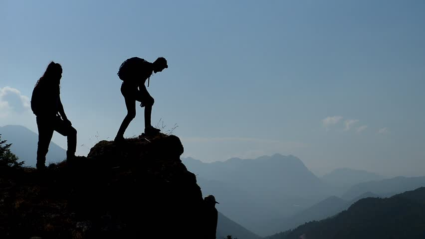 Rock climbing, peak success and enthusiastic team | Shutterstock HD Video #1012164113