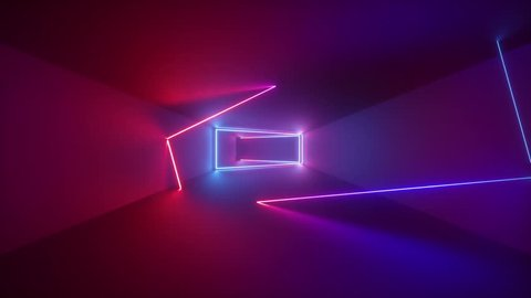 3d render, abstract seamless background, looped animation,  fluorescent ultraviolet light, glowing neon lines, moving backward inside endless tunnel, blue pink spectrum, modern colorful illumination