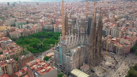 Barcelona, Spain - May 26, 2018: Aerial view of Sagrada Familia neighbourhood in Barcelona, Spain.