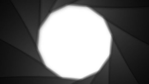Animation of camera shutter aperture transition, embedded alpha channel.