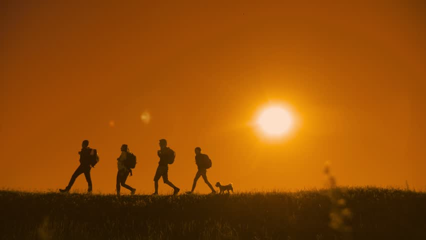 People hikers group and the dog silhouette of sunlight of tourists four people walking on top of a sunset silhouette mountain. slow video tourists hiker people group go travel nature. happy silhouette   Shutterstock HD Video #1012194593