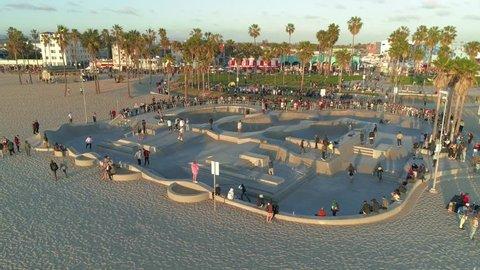 Venice Beach Skate Park. Los Angeles. California. 4K. May 2018