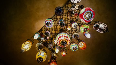 Old colorful chandeliers in a Tatar-Turkish restaurant