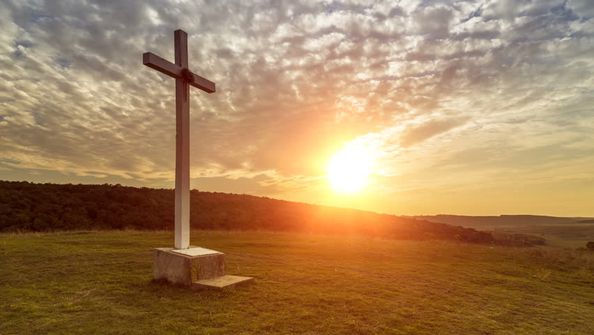Cross on the hill at sunset - zoom in #1012228103