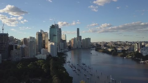 Aerial View of City with River; Aerial View of Brisbane CBD; Cityscape; Tall Buildings by the River (flat profile / ungraded)