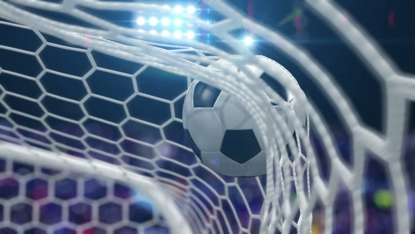Soccer Ball Flies into the Goal with Camera Flashes. Beautiful 3d Animation in Slow Motion, 4K.  #1012241423
