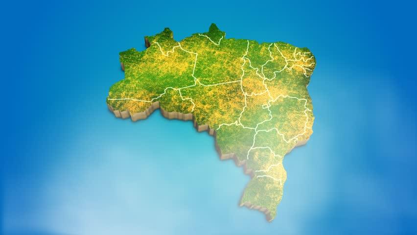 Brazil country map satellite camera zoom in sky effect shot visualization