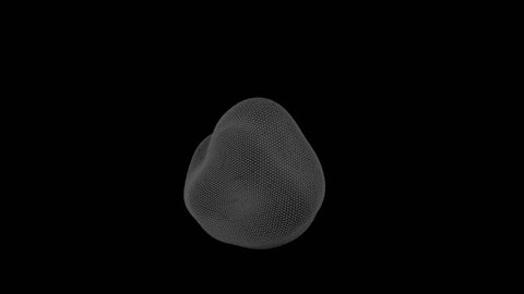 Looped animation of a rotating blob. Motion of a high polygonal 3D blot.