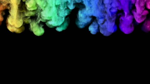 Rainbow coloured smoke falls from all along the top of screen  and fills the screen. Comes with the Alpha Matte.