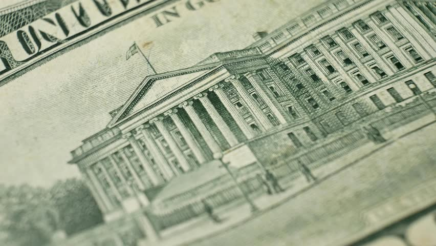 Ten Dollars and U.S. Treasury Building on USA money banknote