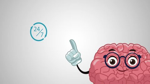 Cute brain cartoon HD animation