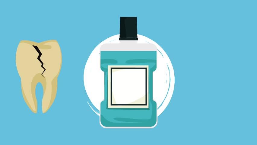 Dental mouthwash hygiene HD animation