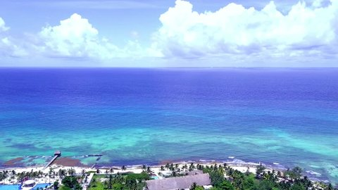 Cancun Drone Aerial Playa Del Carmen Mexico Beach View Caribbean Coast Quintana Roo Tropical Playa Trees Ocean Gulf of Mexico Tourism Vacation Tourist Destination Green Blue Water White Sand Tropics