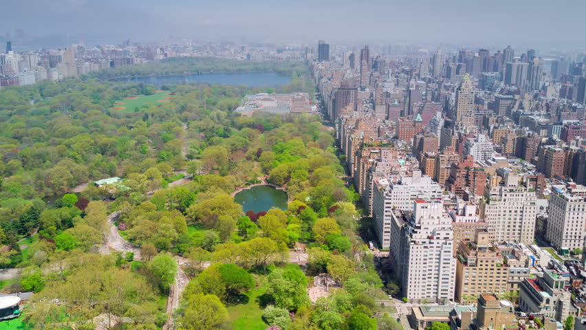 Aerial timelapse dronelapse view of Central Park, Upper East and West Side Manhattan and Midtown Manhattan, New York, USA | Shutterstock HD Video #1012402283