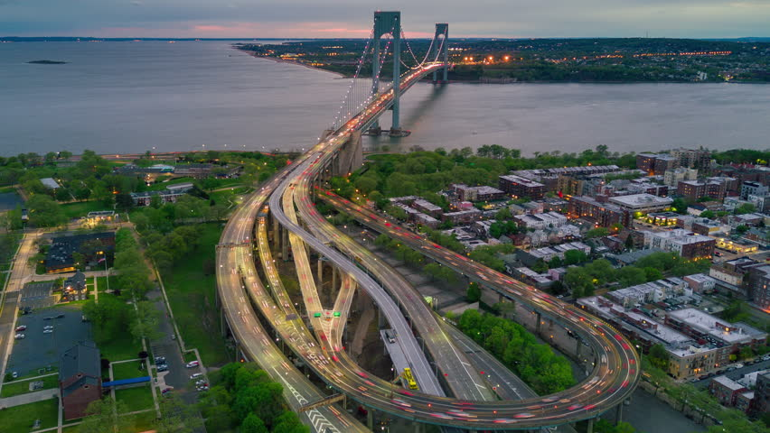 Aerial view of Verrazano bidge and overpass in Brooklyn, New York City. Timelapse dronelapse. NY from above. | Shutterstock HD Video #1012402313
