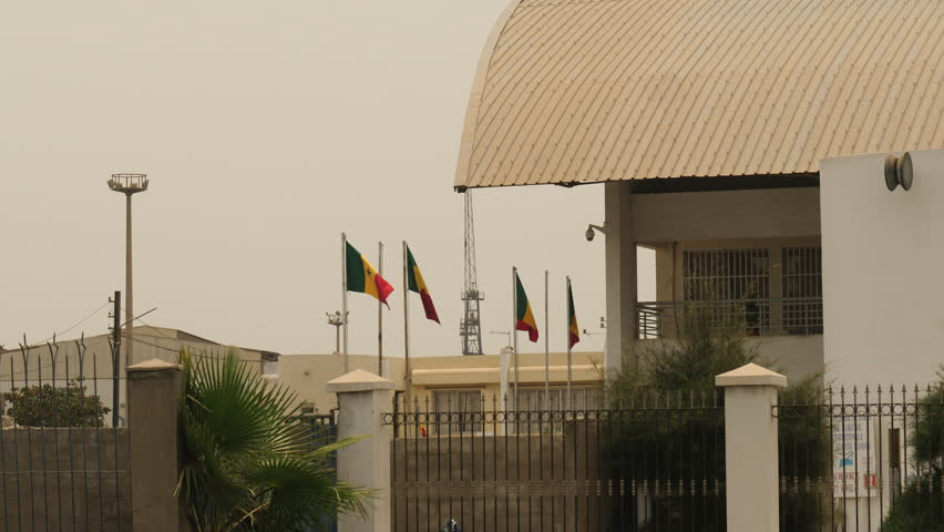 Senegalese flags by Port of Dakar. Africa.