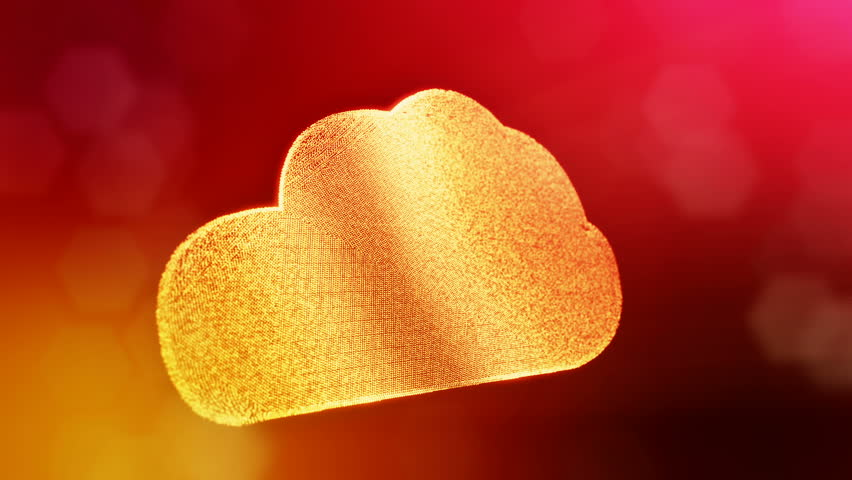 icon of cloud. Background made of glow particles as vitrtual hologram. 3D seamless animation with depth of field, bokeh and copy space. Red version 3