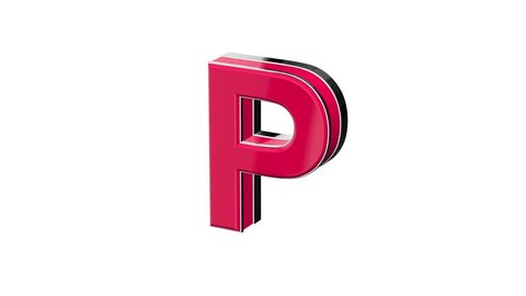 Red pink letter P - volumetric glossy metal letter on white background and  chroma key background 3D animation