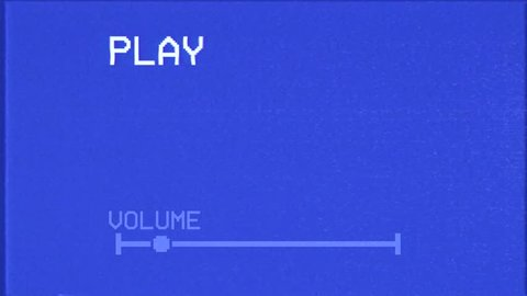 An old bad broken VHS tape playing. Blue screen, sixteen-nine factor, with PLAY and VOLUME text. A vintage background for videos, a retro element.