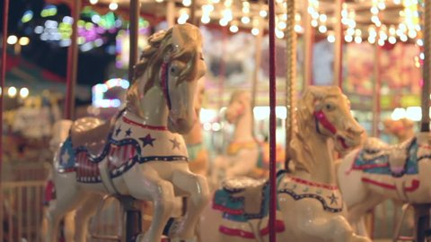 Brightly Painted Carnival Carousel horses