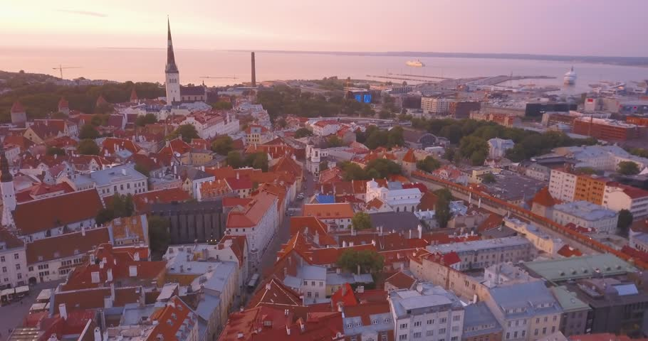 Beautiful aerial purple sunset view of the Tallinn old town from above. Amazing Estonia. | Shutterstock HD Video #1012539233