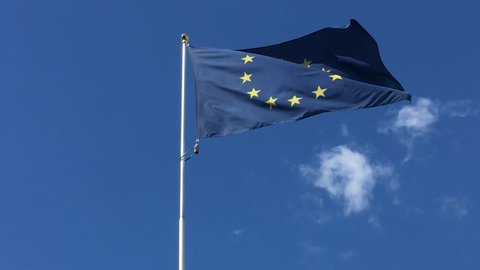 Flag of European Union. Flag of European Union flapping in the wind