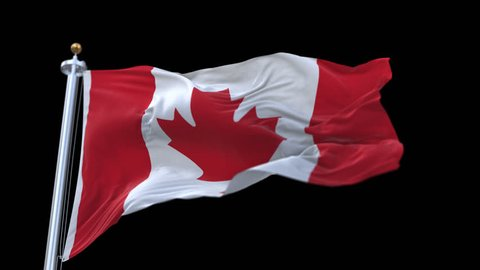 4k looping canada flag with flagpole waving in wind.A fully digital rendering,The animation loops at 20 seconds. flag 3D animation with alpha channel included.