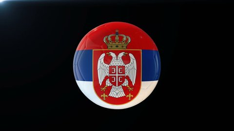 Football with flag of Serbia, soccer ball with Serbian flag, sports equipment rotating on black background, 3D animation