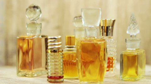 Various vintage glass bottles of perfume