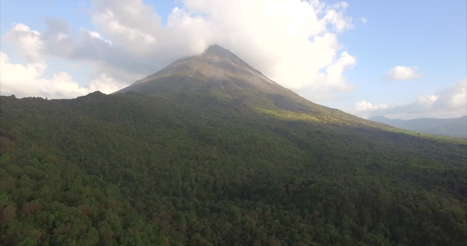 Drone Flying around Volcano Arenal in Costa Rica, 4k, Ultra HD