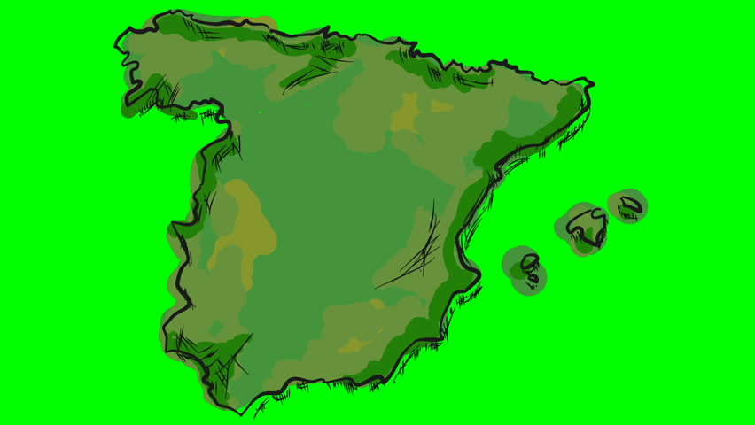 Map Of Spain Drawing.Spain Drawing Colored Map On Stock Footage Video 100 Royalty