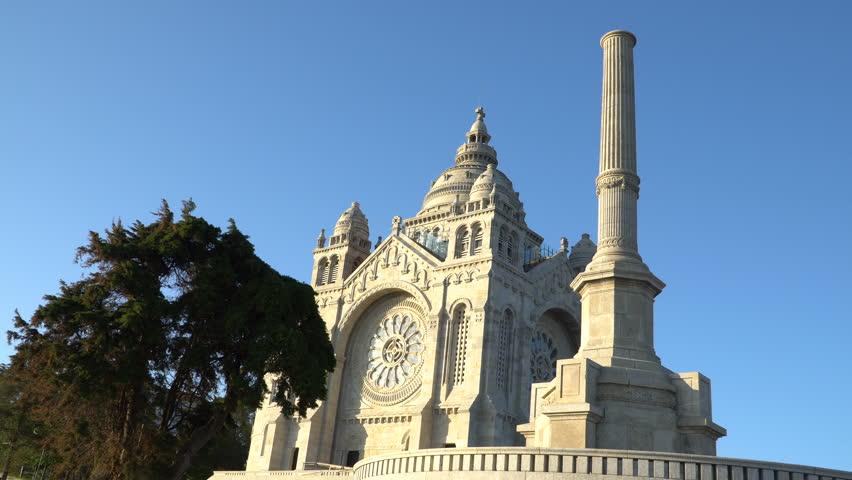 Architectural detail of Santa Luzia basilica in Viana do Castelo in northern Portugal