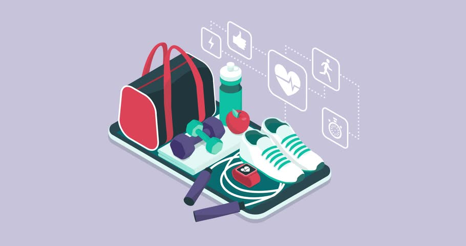 Fitness, training and workout app: sports equipment and icons on a touch screen smartphone | Shutterstock HD Video #1012645163