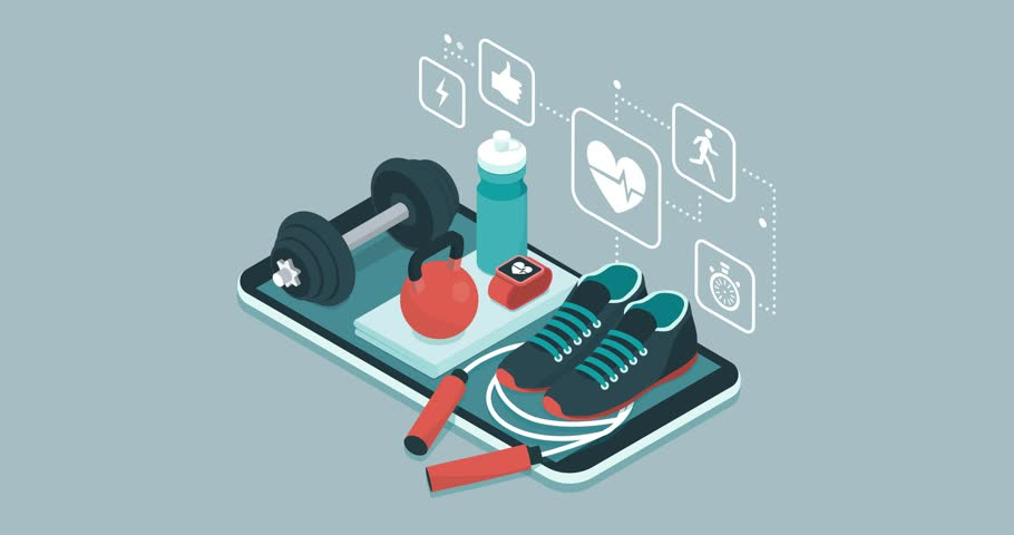 Fitness, training and workout app: sports equipment and icons on a touch screen smartphone | Shutterstock HD Video #1012645223