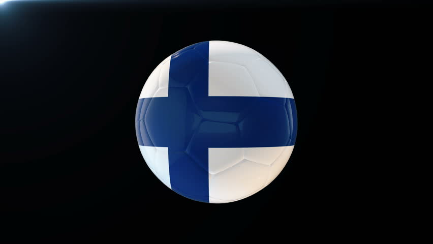 Football with flag of Finland, soccer ball with Finnish flag, sports equipment rotating on black background, 3D animation