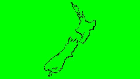 New Zealand drawing outline map on green screen isolated