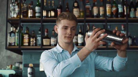 Young barmen preparing cocktail in shaker